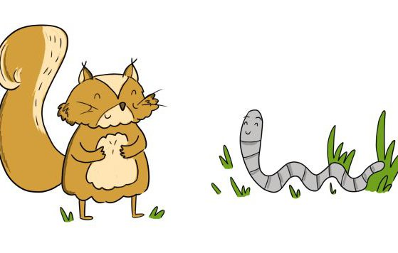 Squirrel and worm